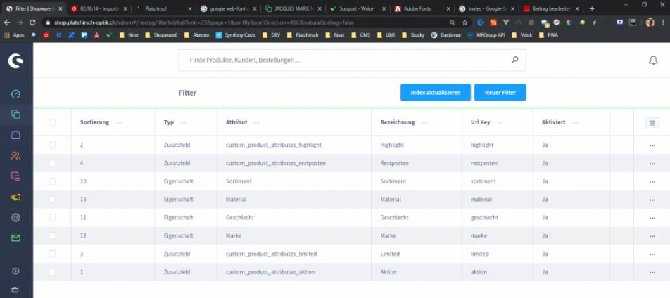 Filter und Suchplugin von Next AG - Konfiguration Filterübersicht