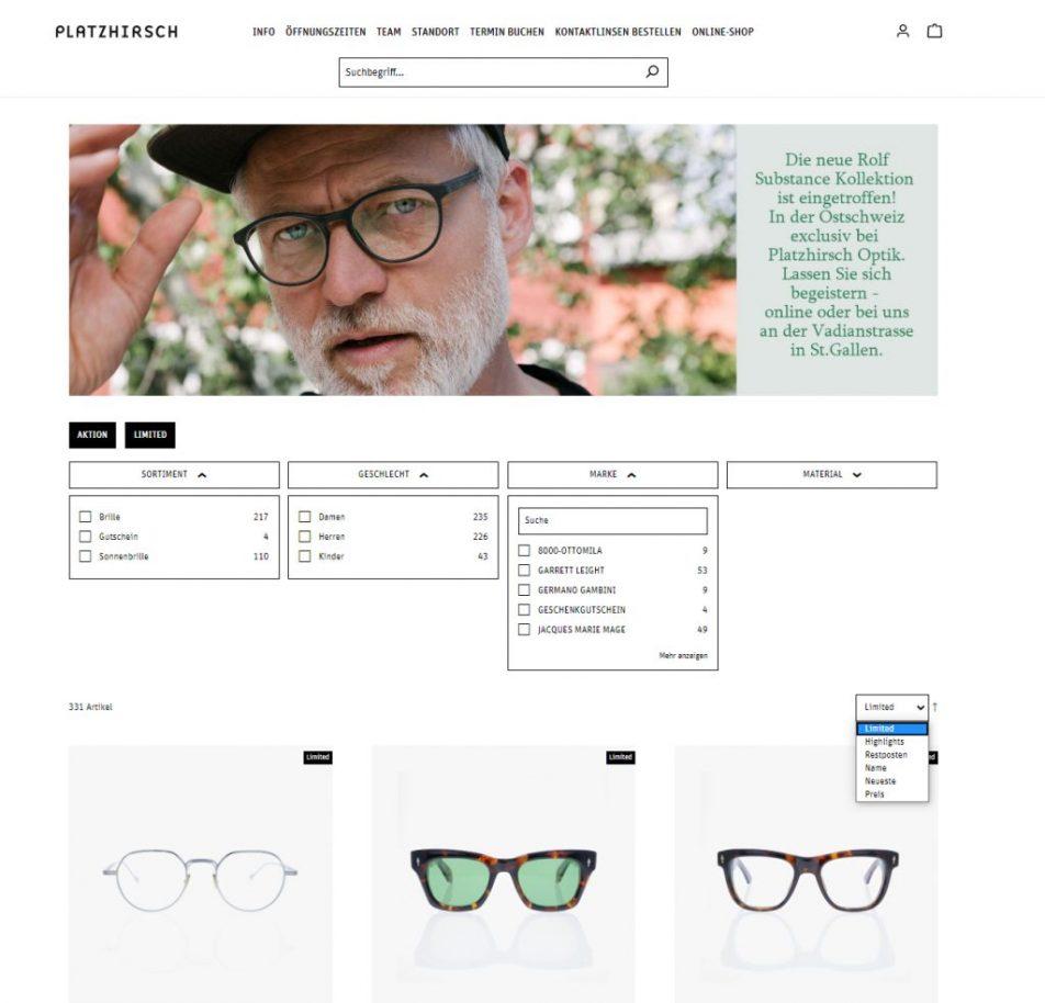 Filter und Suchplugin von Next AG - Beispiel Storefront Filter