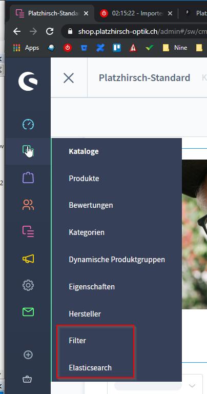Filter und Suchplugin von Next AG - Filteransicht Backend