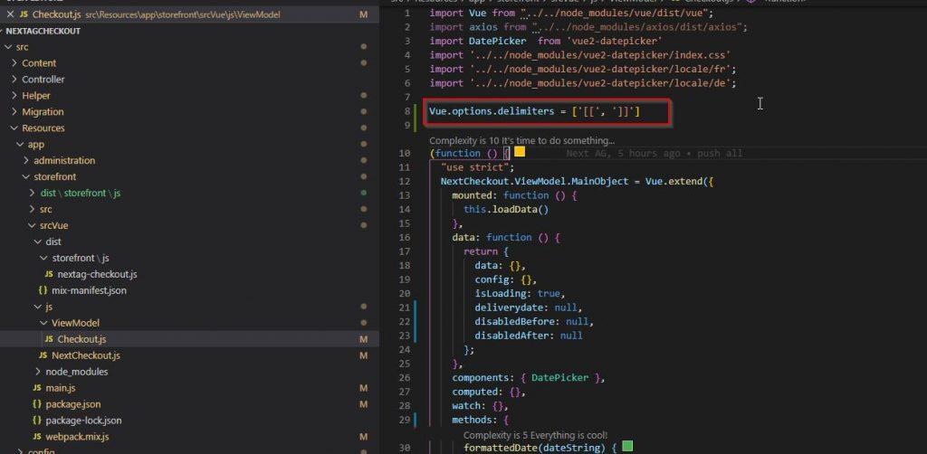 Shopware 6 – Vue.js im Storefront - Vue.js Variablen Delimiter Definition