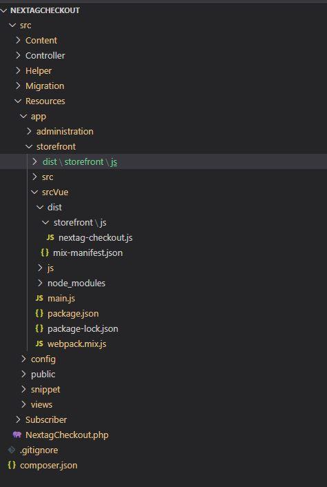 Shopware 6 – Vue.js im Storefront - Ordnerstruktur Next AG Checkout Plugin